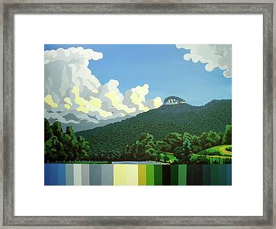 Framed Print featuring the painting Pilot Mountain - Summer by John Gibbs