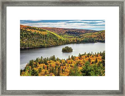 Framed Print featuring the photograph Pine Island At Wapizagonke Lake by Pierre Leclerc Photography