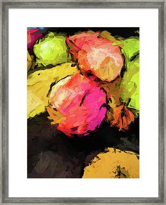 Pink And Green Apples With The Yellow Banana Framed Print