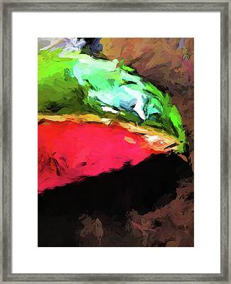 Pink And Green Watermelon Framed Print