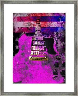 Framed Print featuring the digital art Pink Guitar Against American Flag by Guitar Wacky