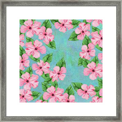Pink Hibiscus Tropical Floral Print Framed Print