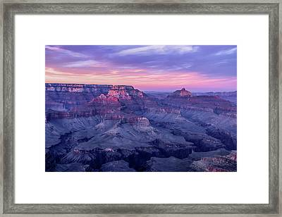 Pink Hues Over The Grand Canyon Framed Print