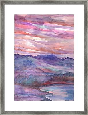 Pink Mountain Landscape Framed Print