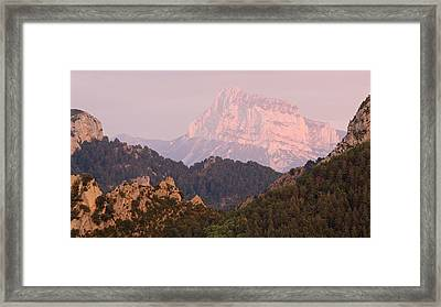 Framed Print featuring the photograph Pink Pena Montanesa by Stephen Taylor