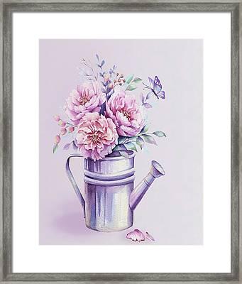 Framed Print featuring the painting Pink Peonies Blooming Watercolour by Georgeta Blanaru