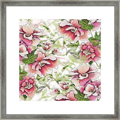 Pink Peony Blossoms Framed Print