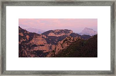 Framed Print featuring the photograph Pink Skies Above Pena Montanesa by Stephen Taylor