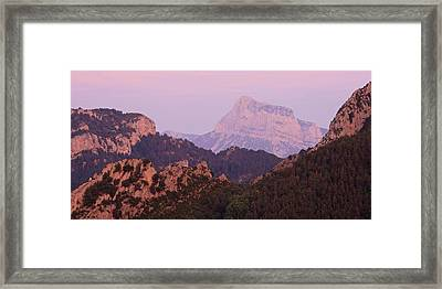 Framed Print featuring the photograph Pink Skies And Alpen Glow In The Anisclo Canyon by Stephen Taylor