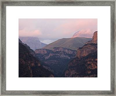 Framed Print featuring the photograph Pink Skies In The Anisclo Canyon by Stephen Taylor