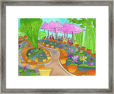 Pink Umbrella And Lilies Framed Print