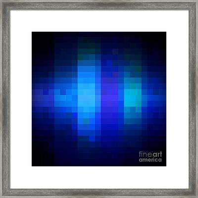 Framed Print featuring the digital art Pixelated Moonlit Sky by Rachel Hannah