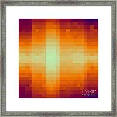 Framed Print featuring the digital art Pixelated Tropical Sunset by Rachel Hannah