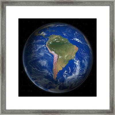 Planet Earth From Space, South America Framed Print by Saul Gravy