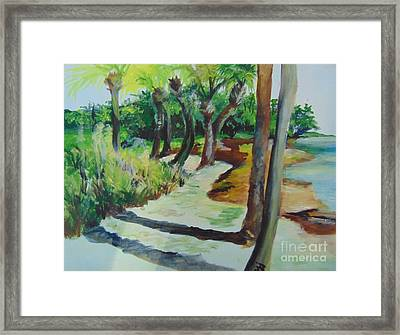 Framed Print featuring the painting Plen Aire Palms by Saundra Johnson