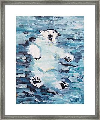 Framed Print featuring the painting Polar Bear by Maria Langgle