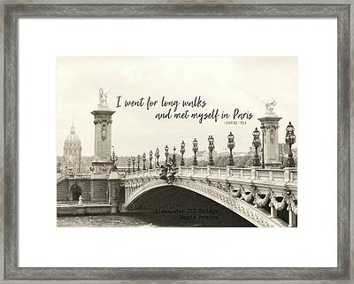 Pont Alexandre IIi Bridge Quote Framed Print by JAMART Photography