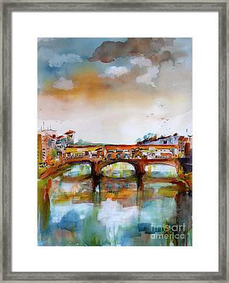 Framed Print featuring the painting Ponte Vecchio Florence Italy Watercolors by Ginette Callaway