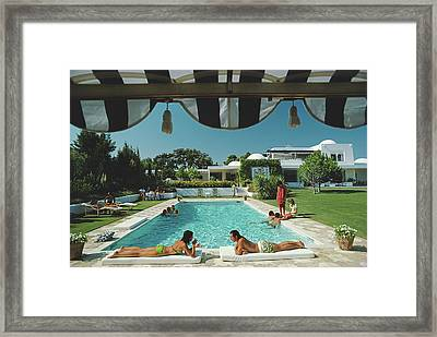 Poolside In Sotogrande Framed Print