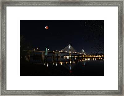 Port Mann Bridge With Blood Moon Framed Print