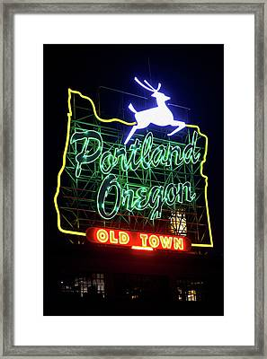Framed Print featuring the photograph Portland White Stag Sign 11318 by Rospotte Photography