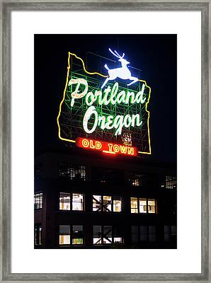 Framed Print featuring the photograph Portland Oregon White Stag Sign 1123 by Rospotte Photography