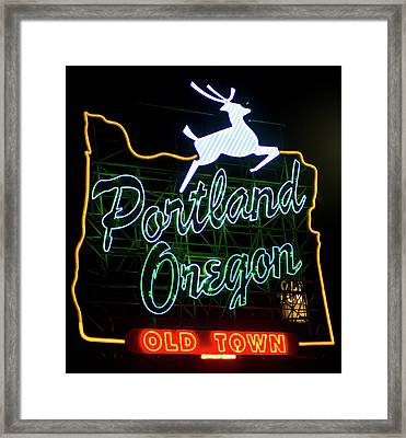 Framed Print featuring the photograph Portland White Stag Sign 102518 by Rospotte Photography