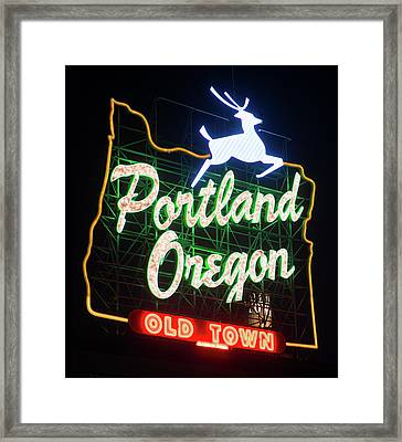 Framed Print featuring the photograph Portland Whitestag Neon Gold 119 by Rospotte Photography