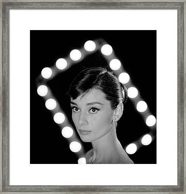 Portrait Of Actress Audrey Hepburn Framed Print by Allan Grant