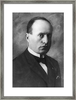 Portrait Of Benito Mussolini Framed Print by Hulton Archive