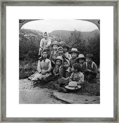 Portrait Of Children From Indian Tribe Framed Print by Kean Collection