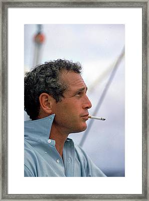 Portrait Of Paul Newman Smoking Framed Print by Mark Kauffman