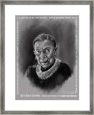 Portrait Of Ruth Bader Ginsburg Framed Print