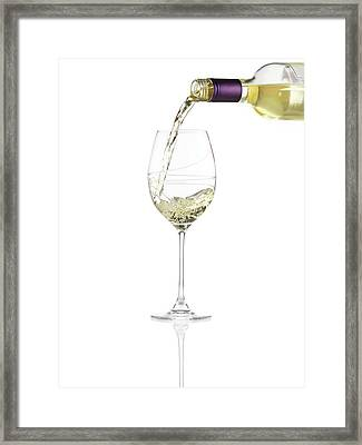 Pouring A Glass Of White Wine Framed Print by Steven Krug