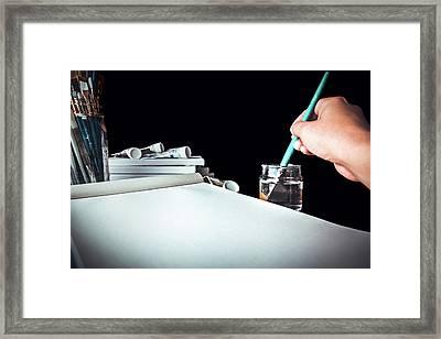 Preparing To Paint Framed Print