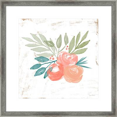 Framed Print featuring the mixed media Pretty Coral Roses 2- Art By Linda Woods by Linda Woods