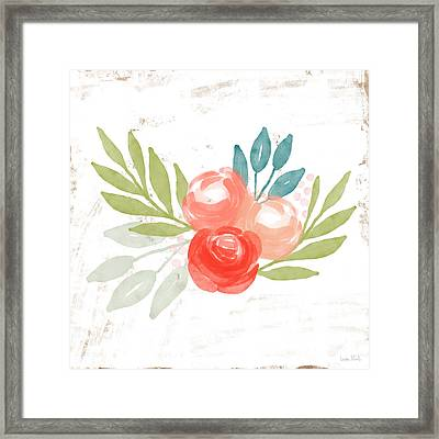 Framed Print featuring the mixed media Pretty Coral Roses - Art By Linda Woods by Linda Woods
