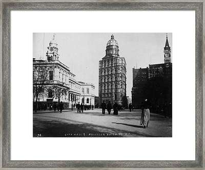 Pulitzer Building Framed Print by Fox Photos