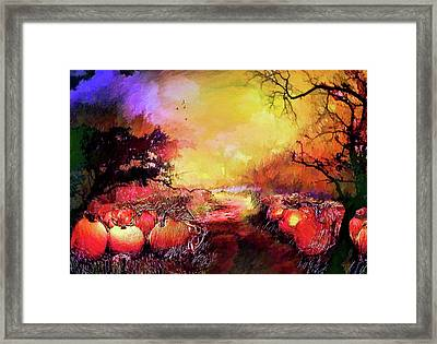Framed Print featuring the painting Pumpkin Patch by Valerie Anne Kelly