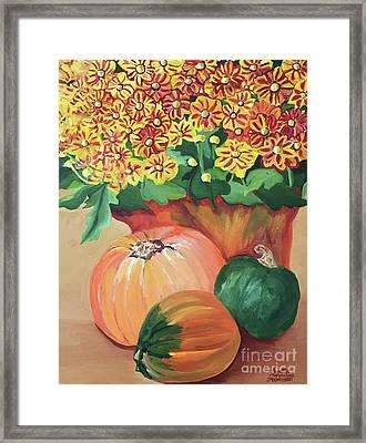 Pumpkin With Flowers Framed Print