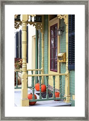 Pumpkins On The Porch Lambertville Framed Print