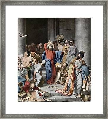 Purging The Temple Framed Print by Rischgitz
