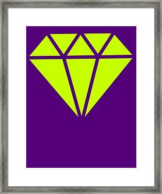 Purple Diamond Yellow Framed Print