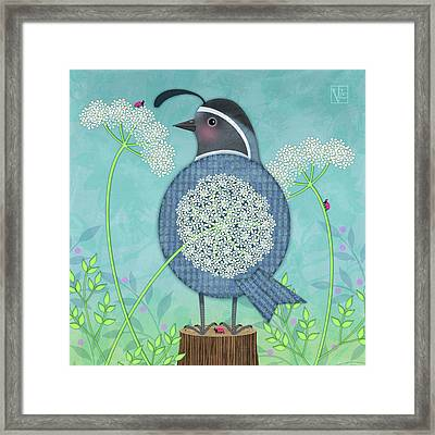 Q Is For Quail And Queen Anne's Lace Framed Print