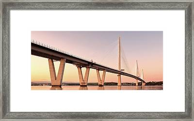 Queensferry Crossing Bridge Sunset Framed Print by Grant Glendinning