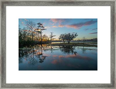 Quiet River Sunset Framed Print
