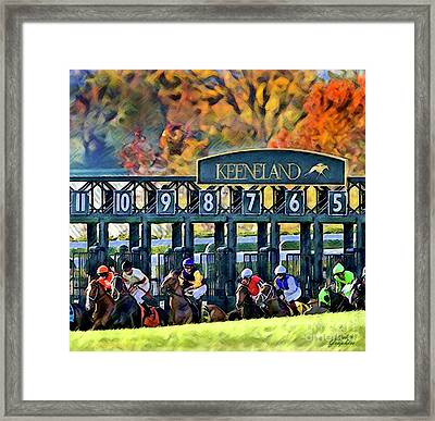 Fall Racing At Keeneland  Framed Print