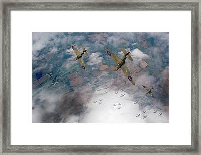 Raf Spitfires Swoop On Heinkels In Battle Of Britain Framed Print