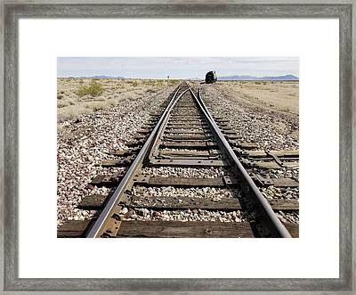 Railroad Mainline Arizona And California Railroad In The California Desert Framed Print