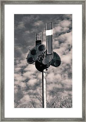 Framed Print featuring the photograph Railroad Semaphore Signal 10 B W 1 by Joseph C Hinson Photography